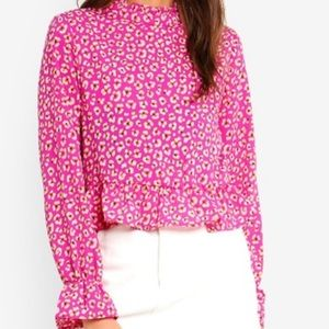 NWT Cotton On Bree Frill Leopard Clover Blouse - S